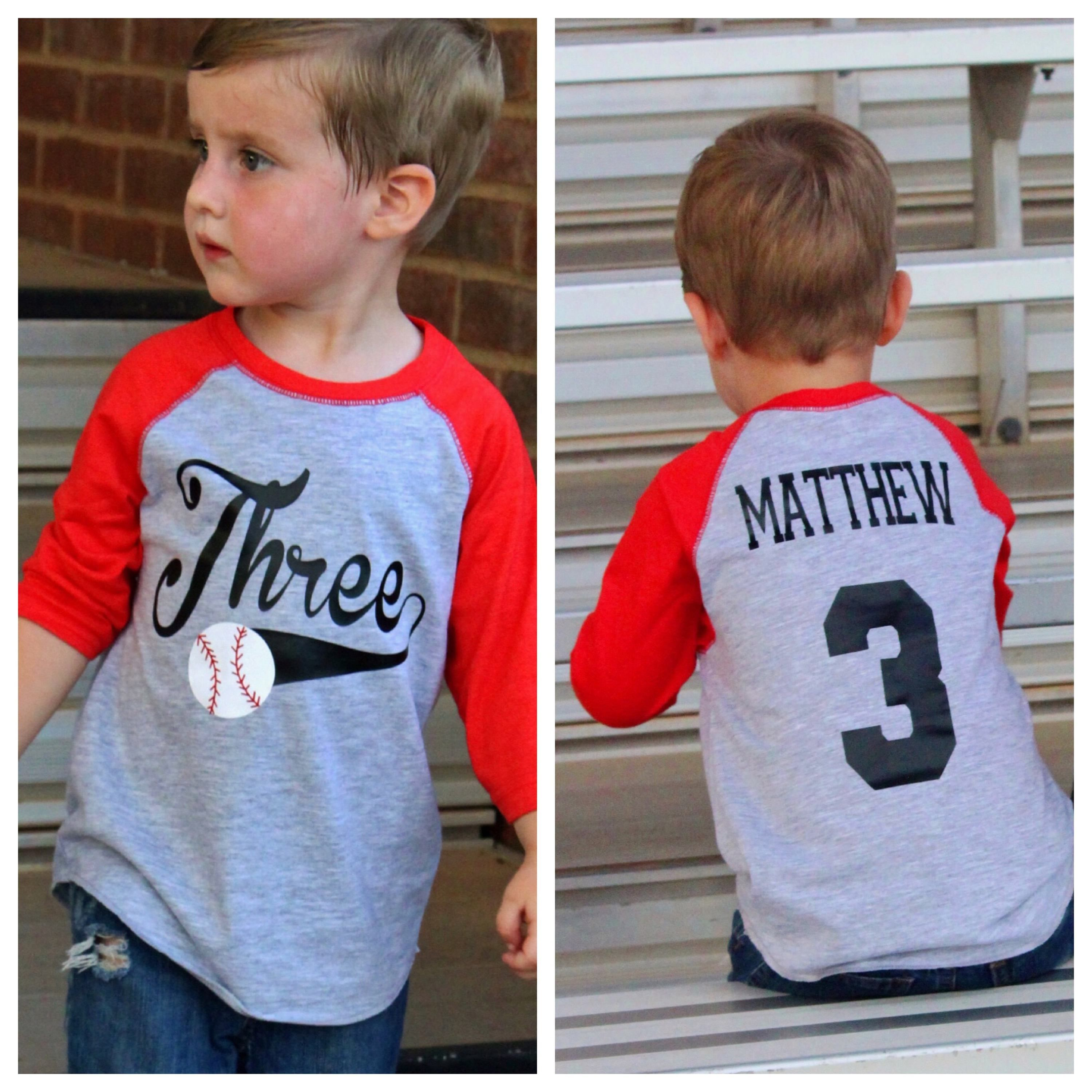 2785753e This is a personalized 3rd birthday baseball shirt, the pictured shirt is  perfect for a 3rd birthday shirt but can be customized to ANY age or name!!