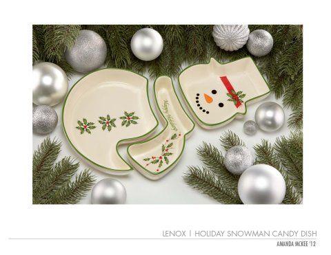 amanda mckee lenox holiday snowman candy dish