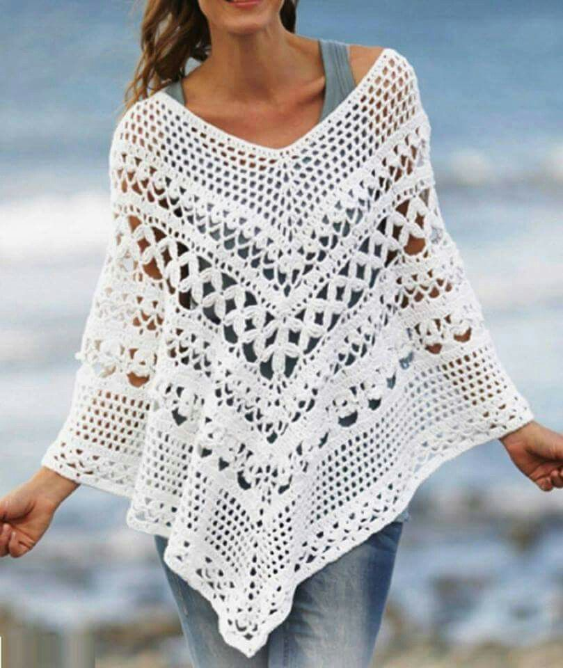 Poncho crochet   crochet   Pinterest   Ponchos, Crochet and Crochet ...