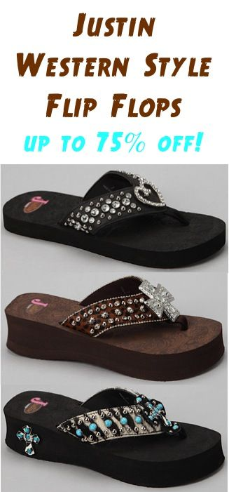 7a557134a146d3 Justin Western Style Flip Flops ~ up to 75% off!  flipflops