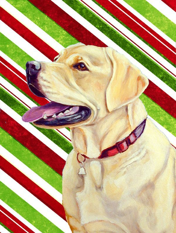 Labrador Candy Cane Holiday Christmas Flag Garden Size