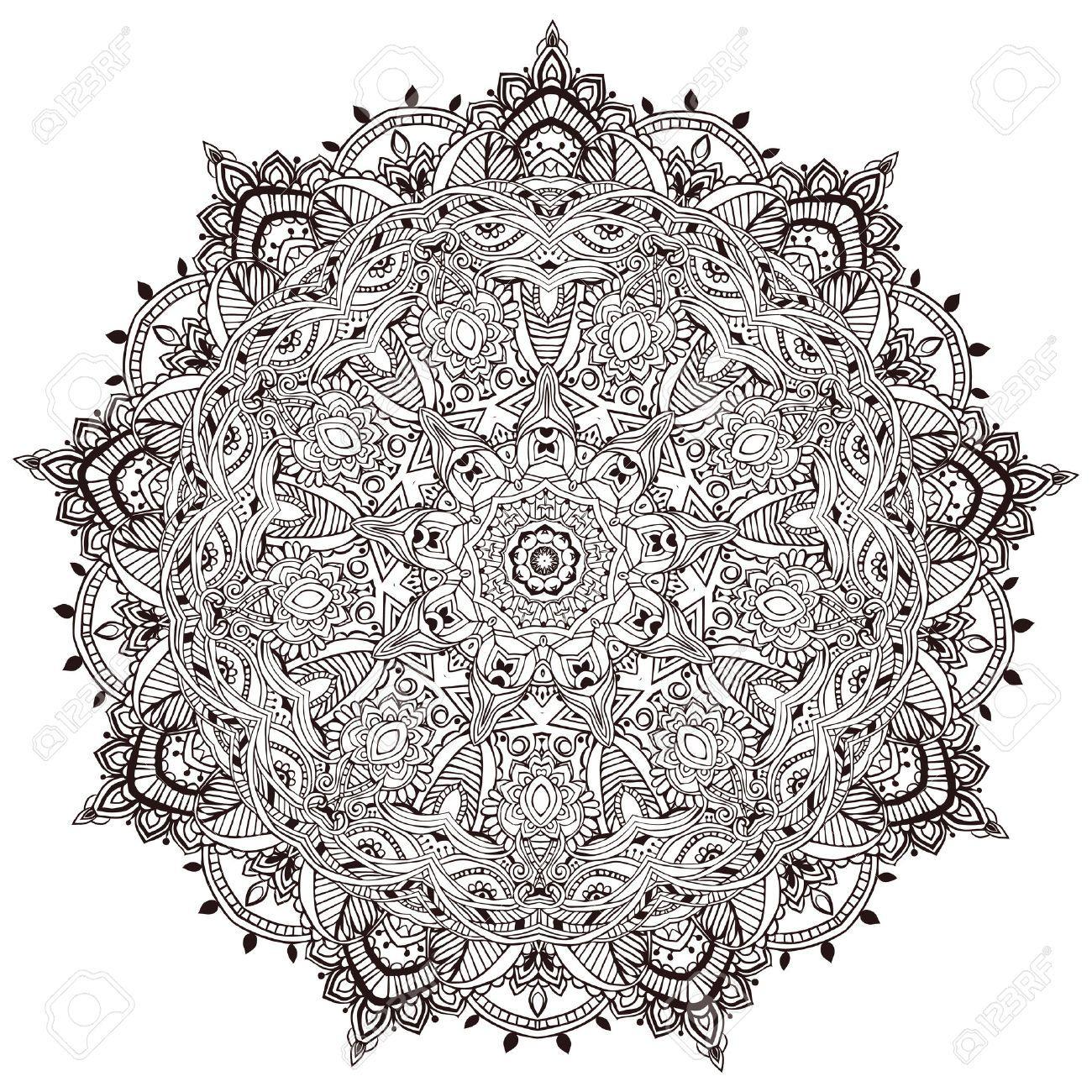 Ornament Black White Card With Mandala Geometric Circle Element Royalty Free Cliparts Vectors Mandala Coloring Mandala Coloring Pages Mandala Coloring Books