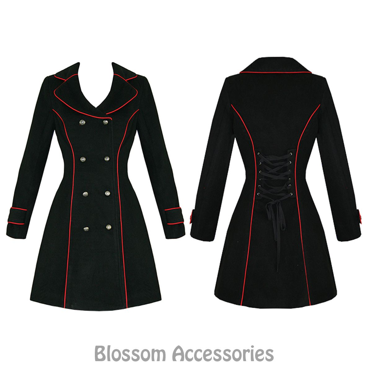 RKH54 Hearts & Roses Military Red Piping Coat Black Rockabilly ...