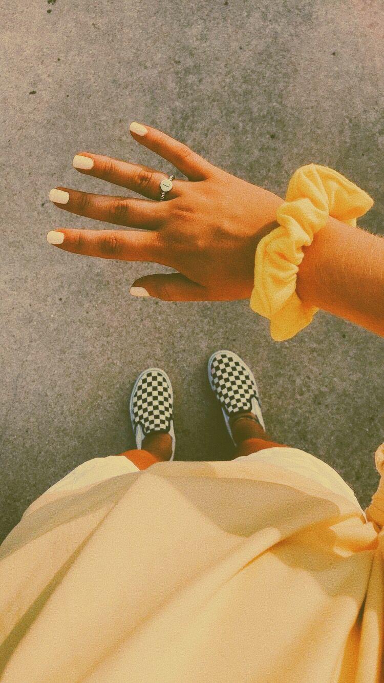 Yellowaesthetic Scrunchies Aesthetic Vsco Vans Shoes Fashion
