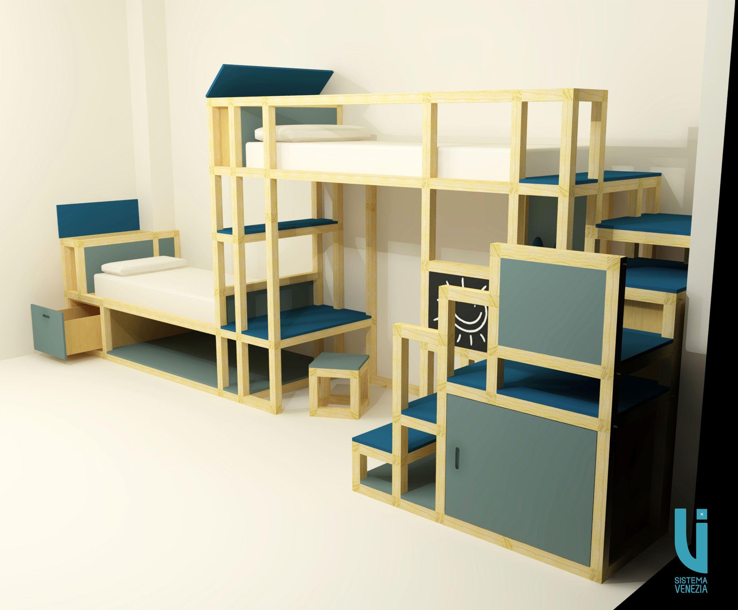 Camera da letto per bambini, costruita con #SistemaVenezia ...