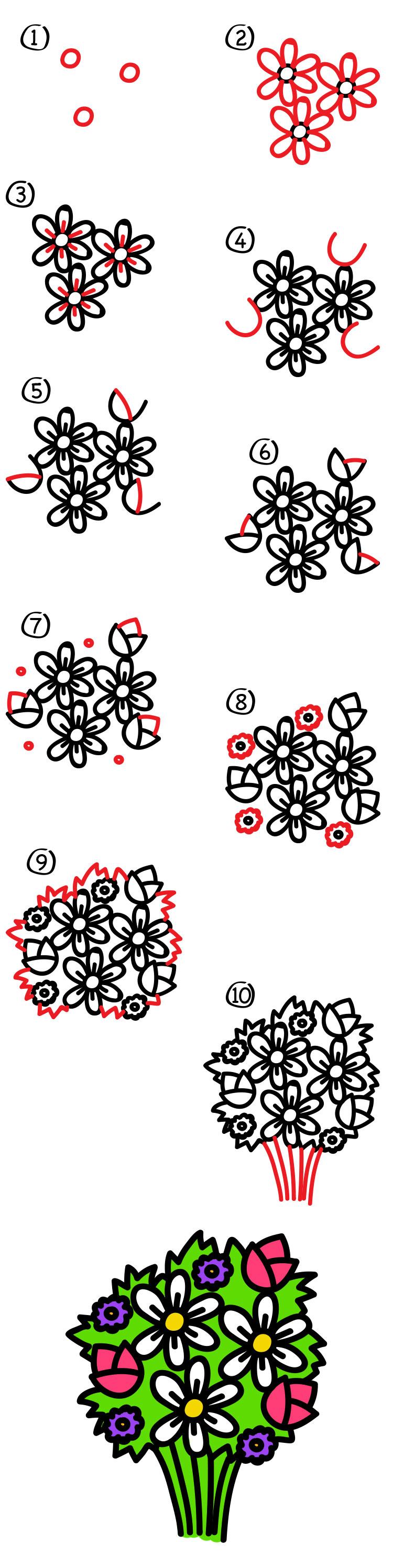 How to draw a flower bouquet art for kids hub art