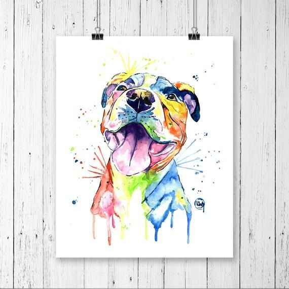 Pitbull Painting Pitbull Art Pit Bull Pitbull Dog Art Pitbull