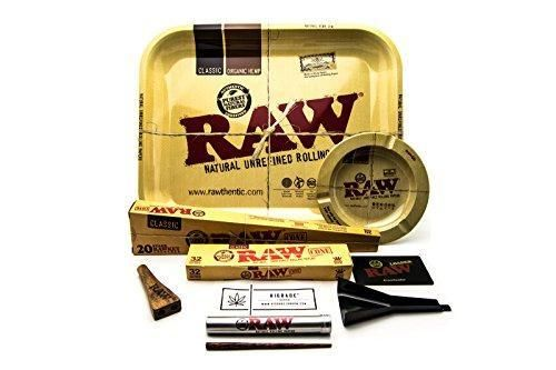 RAW Smokey Forest Trees Metal Rolling Tray with RAW Cone Loader