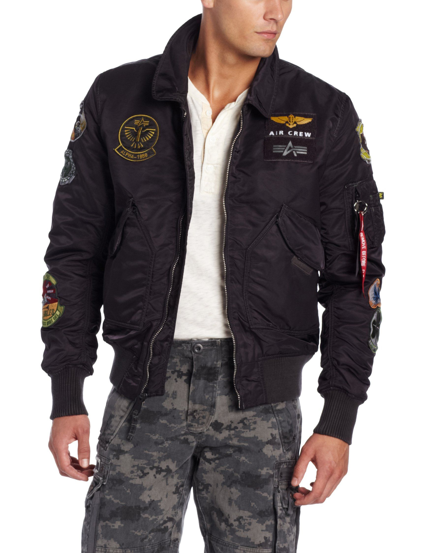 3575826d7 Alpha Industries Men's CWU Pilot X Flight Jacket, Sage Black, Large ...