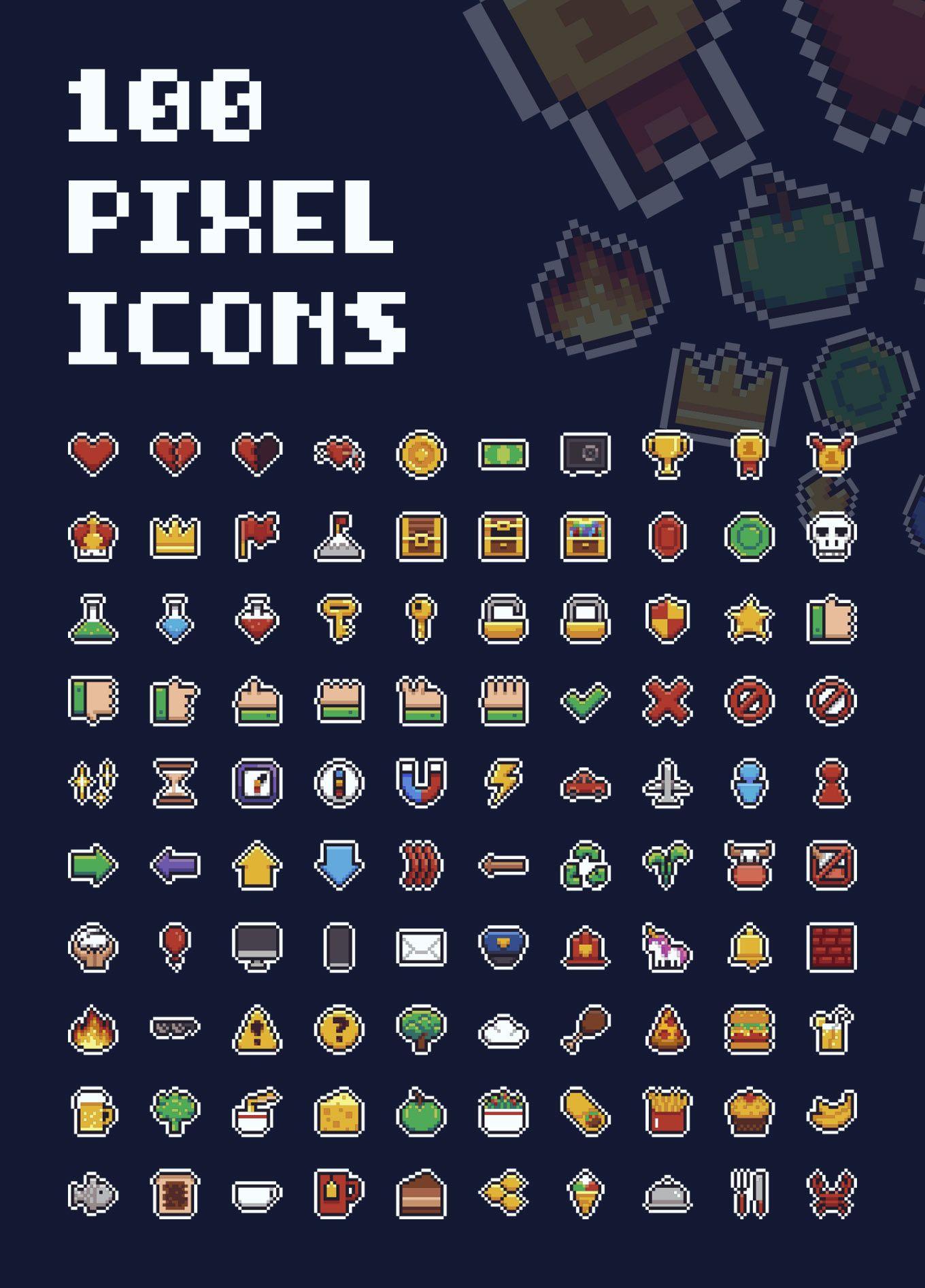 Mario Pixel Icons Collection Pixel Art Tutorial Pixel Art Games Pixel Art Characters