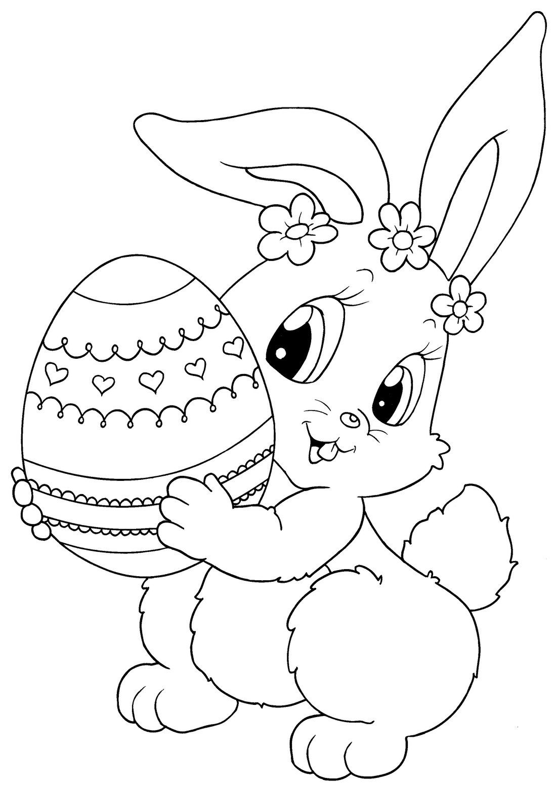 Bunny With Tulip Coloring Page Free Printable Ebook Bunny