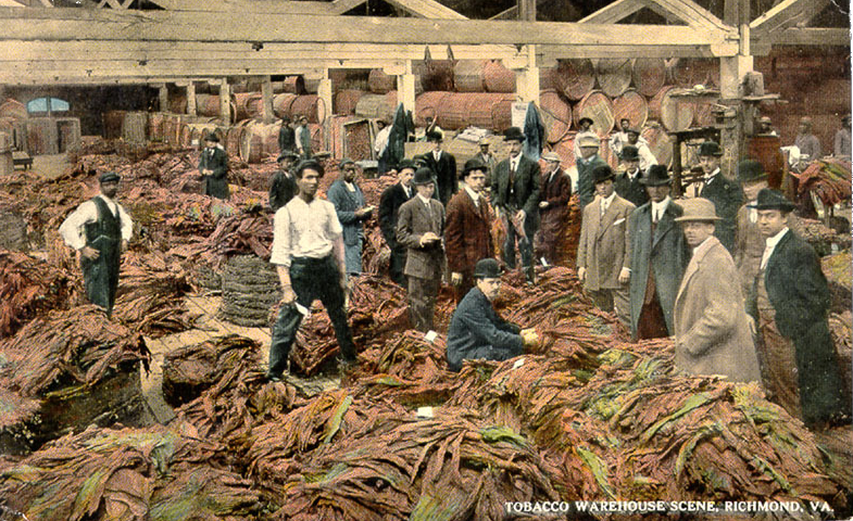 Hogsheads of tobacco being inspected and shipped overseas, Richmond, Va., about 1918