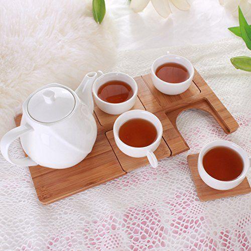 Juego de café de cerámica del té Inicio simple blanco puro (4 Copa ...