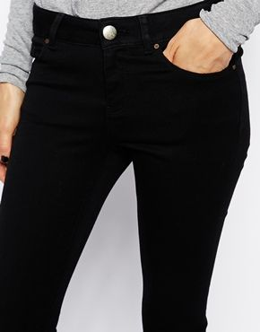 Image 3 ofASOS Mid Rise Ultra Skinny Jeans in Clean Black