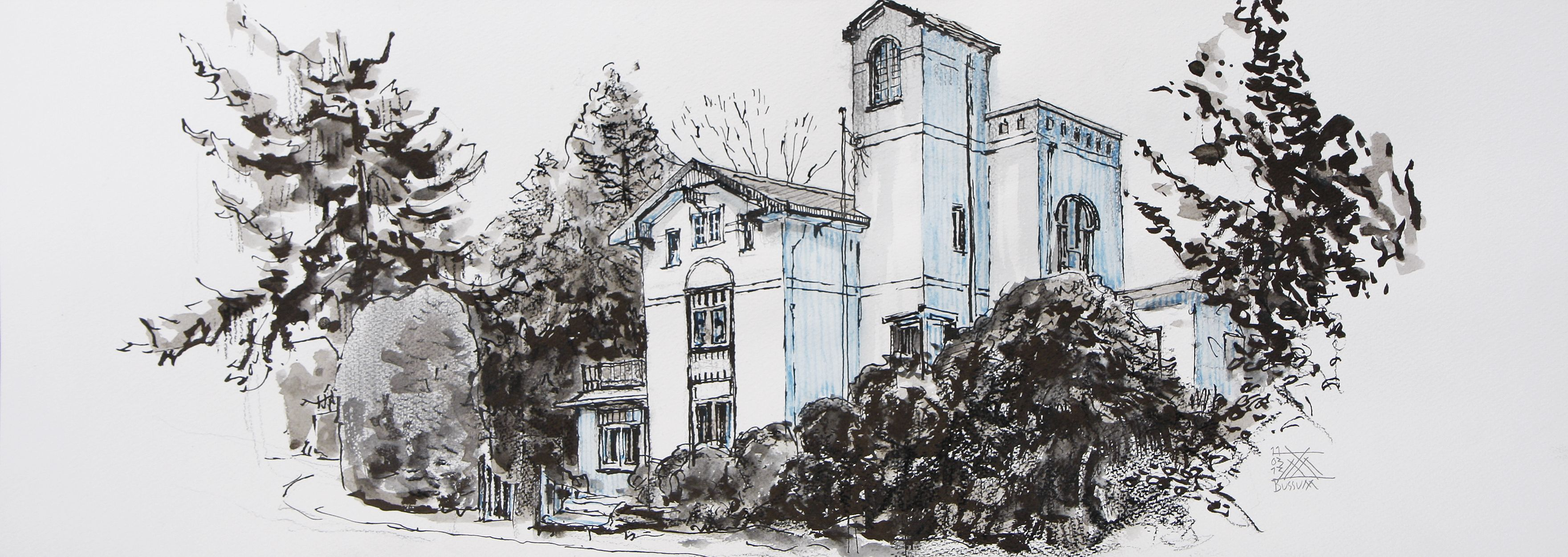 Villa in Bussum, the Netherlands. Lex Hamers. Drawing on paper. 70 x 25 cm. 11/03/2013