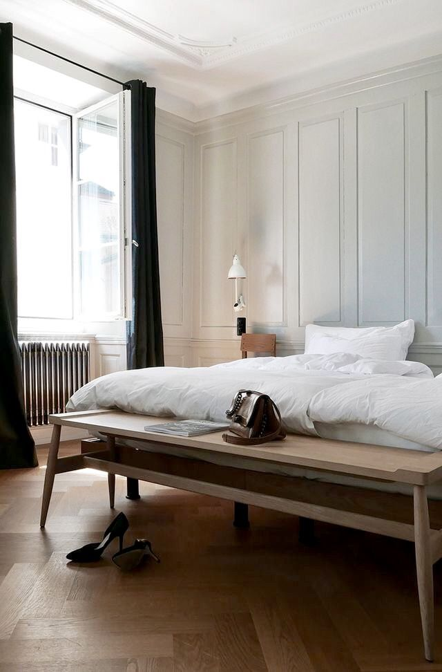 Wall Paneling Detail Wood Bench At End Of Bed Bedroom Interior