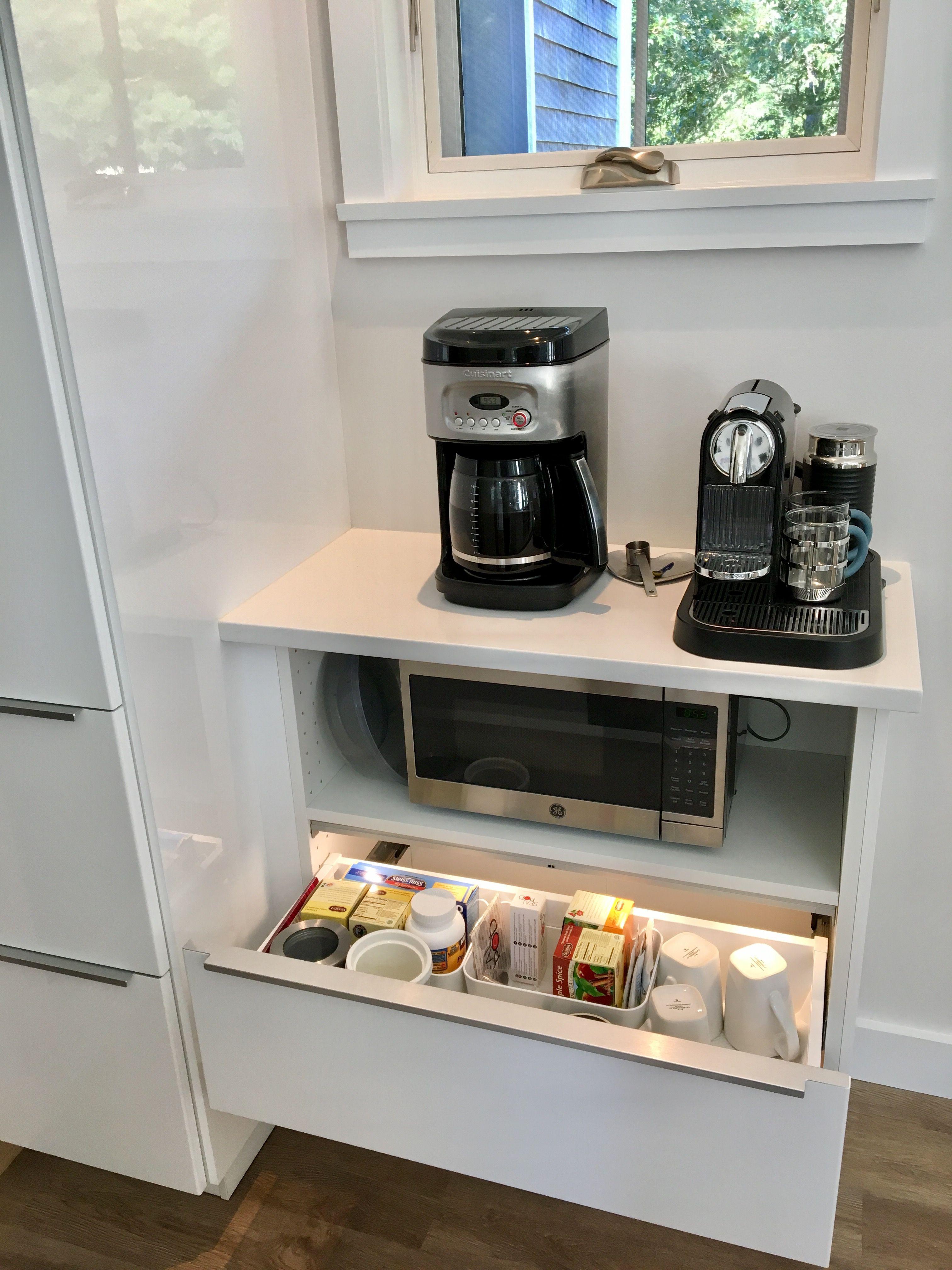 Maybe Microwave Is Better In Coffee Nook Kitchen Design Small Kitchen Design Modern White Kitchen Cabinet Design [ 4032 x 3024 Pixel ]