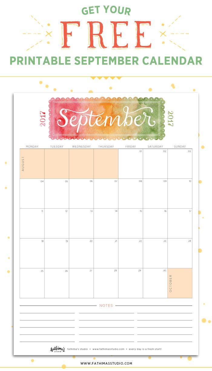 September 2017 Free Printable Calendar Planner Free Printable