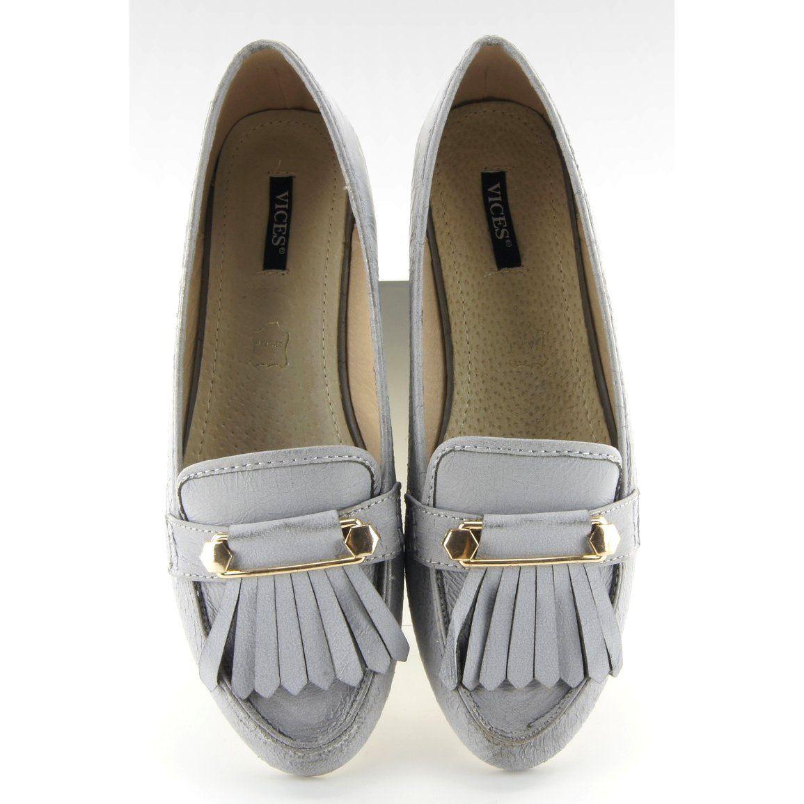 Mokasyny Damskie Obuwiedamskie Szare Mokasyny W Stylu Vintage 3052 Grey Obuwie Damskie Moccasins Women Loafers For Women Vintage Fashion