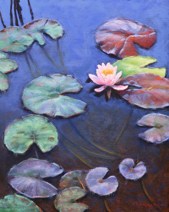 Lotus And Lily Pads Oil Painting Lily Painting Lotus Painting