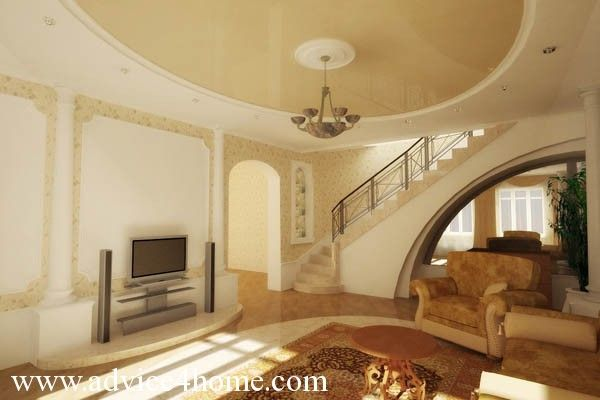 cream white pop ceiling design in living room - Living Room Pop Ceiling Designs