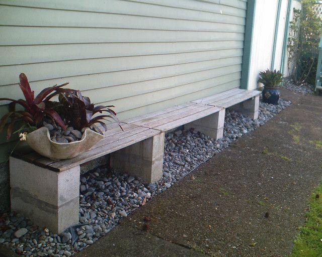 Simple garden bench I designed and made in 2019 | DIY | Cinder block