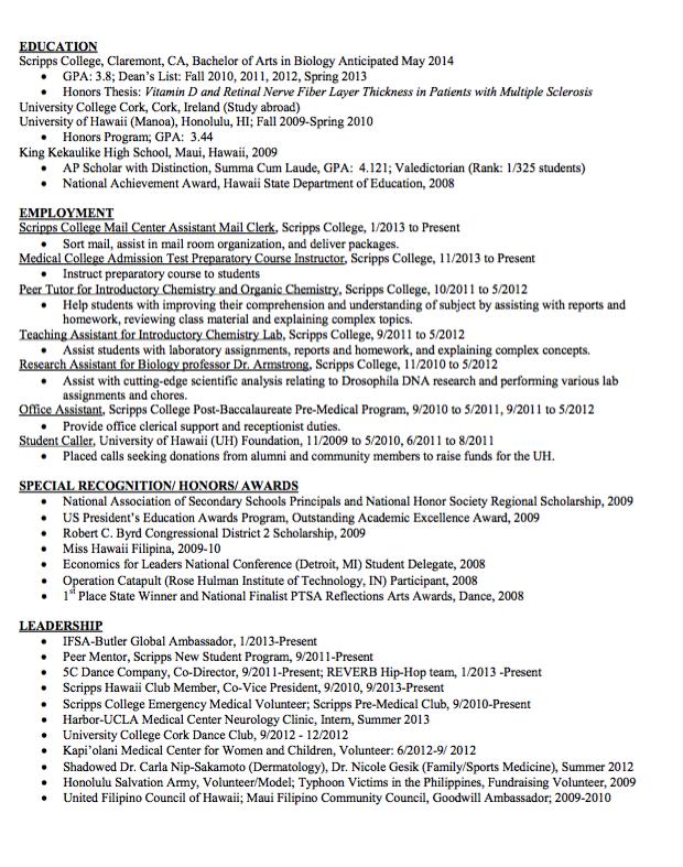 Sample Medical College Resume Examples Resume Cv
