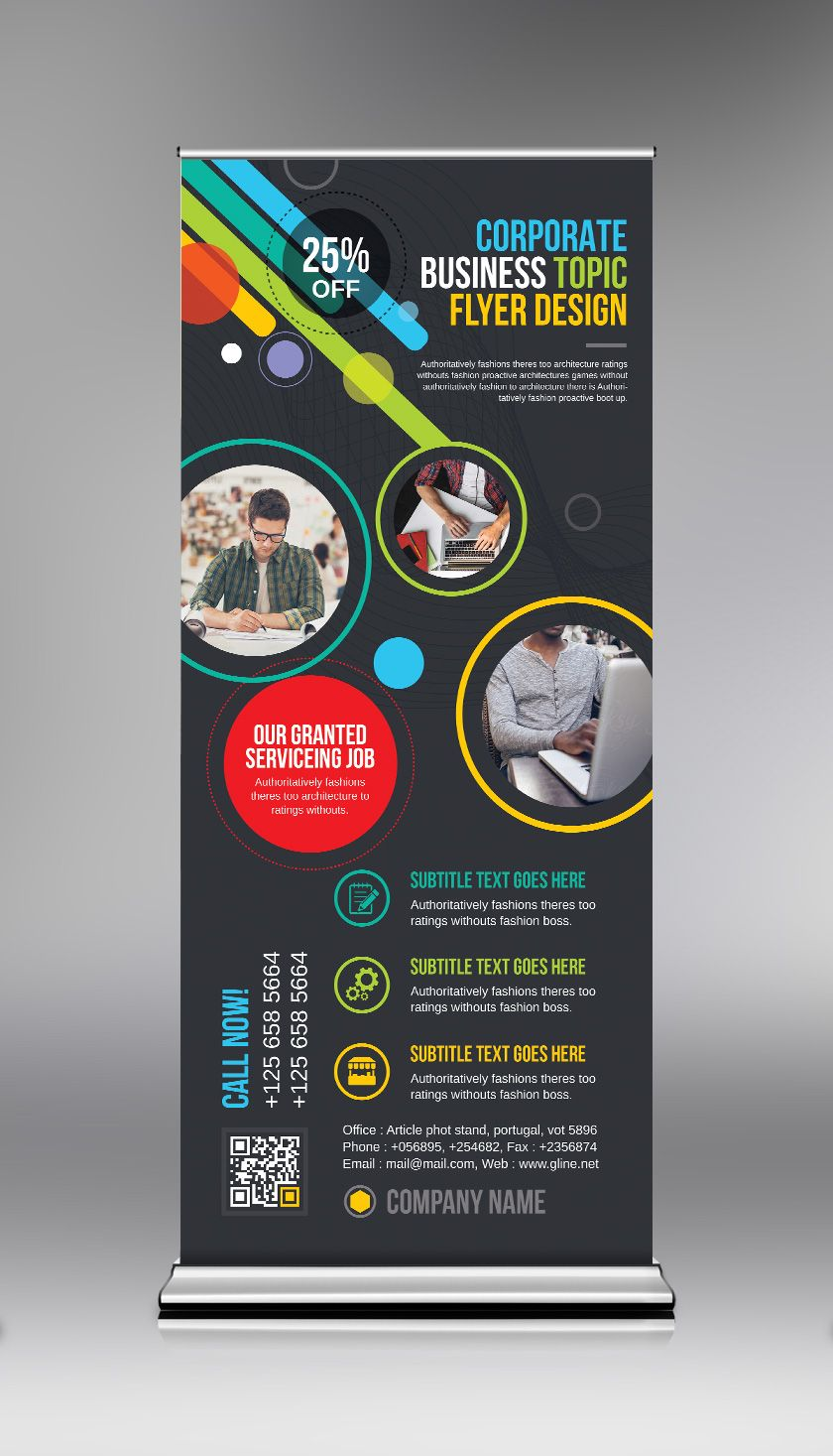 Psd Vibrant Roll Up Banner Template Graphic Templates Banner Template Pull Up Banner Design Banner Design Inspiration