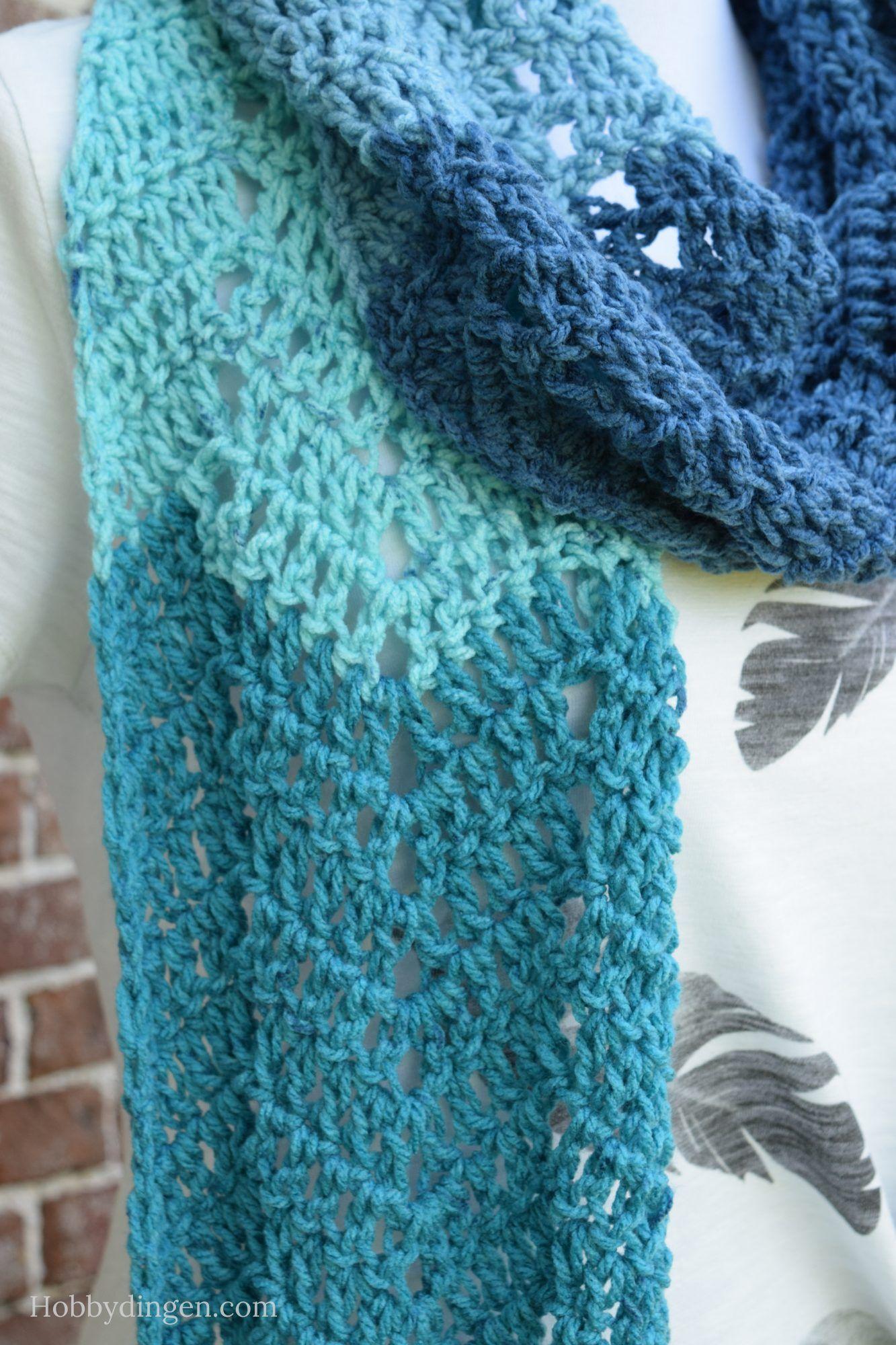 Free Crochet Pattern: Waterfall Scarf - Hobbydingen.com | Craft ...