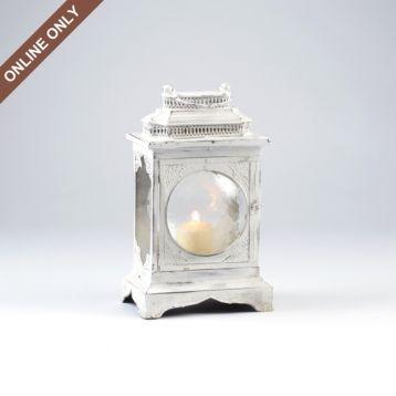 White Metal Bubble Glass Lantern