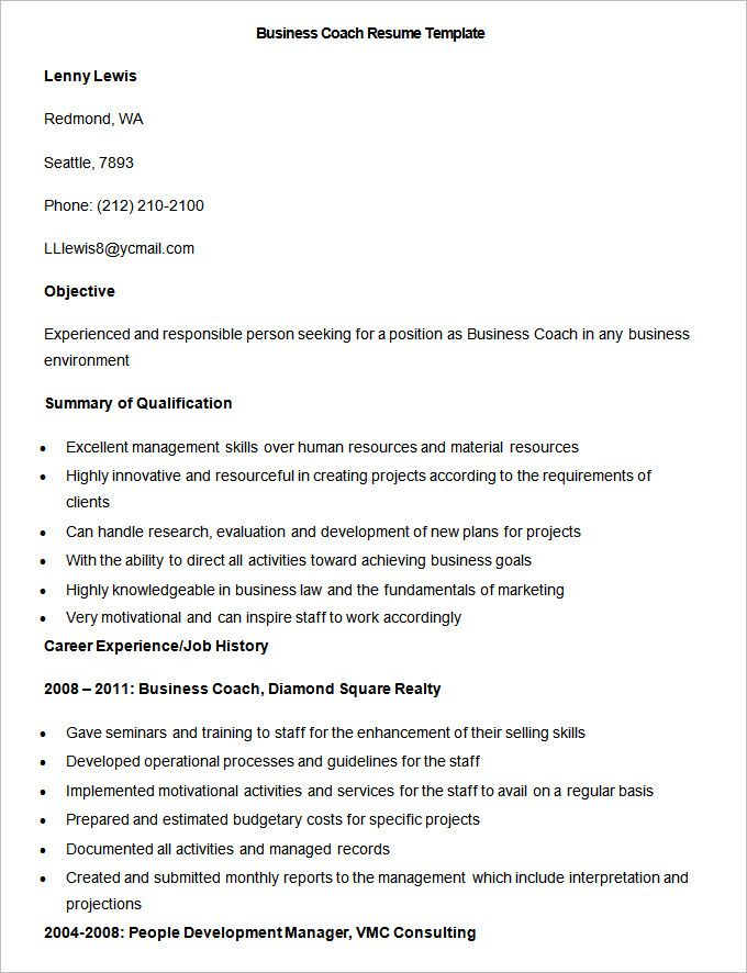 Sample Business Coach Resume Template , Write Your Resume Much