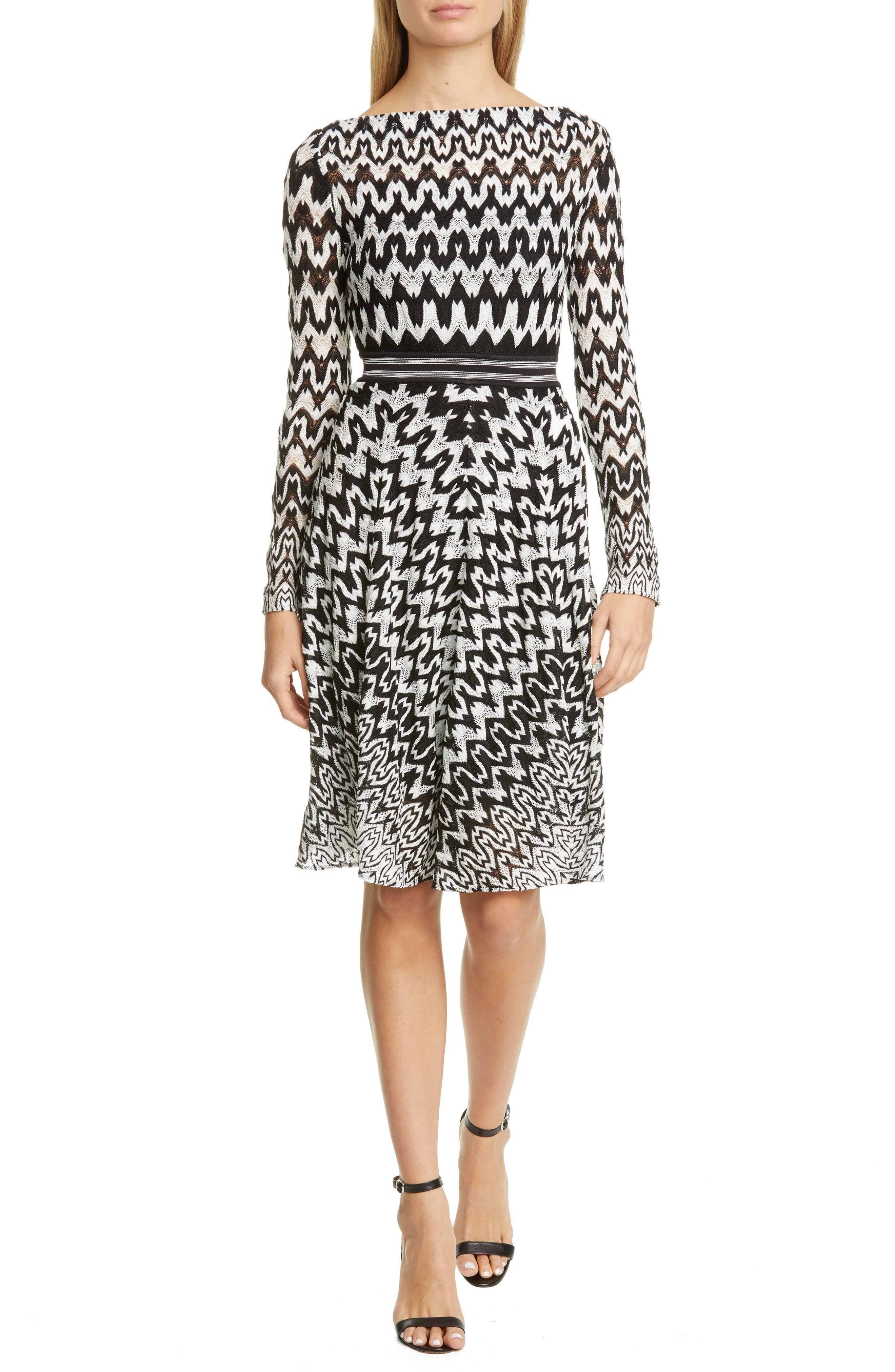 Missoni Zigzag Long Sleeve Fit Flare Dress Nordstrom Fit Flare Dress Flare Dress Fashion Clothes Women [ 4048 x 2640 Pixel ]