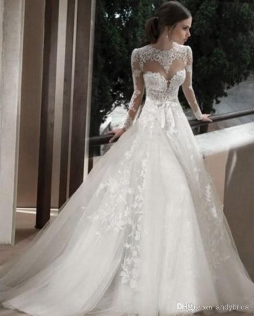 2014 Sheer Jewel Bridal Wedding Gowns with Long Sleeves Appliques Lace  Court Train Cathedral Church Backless A-Line Wedding Dresses with Bow 8227d39e552e