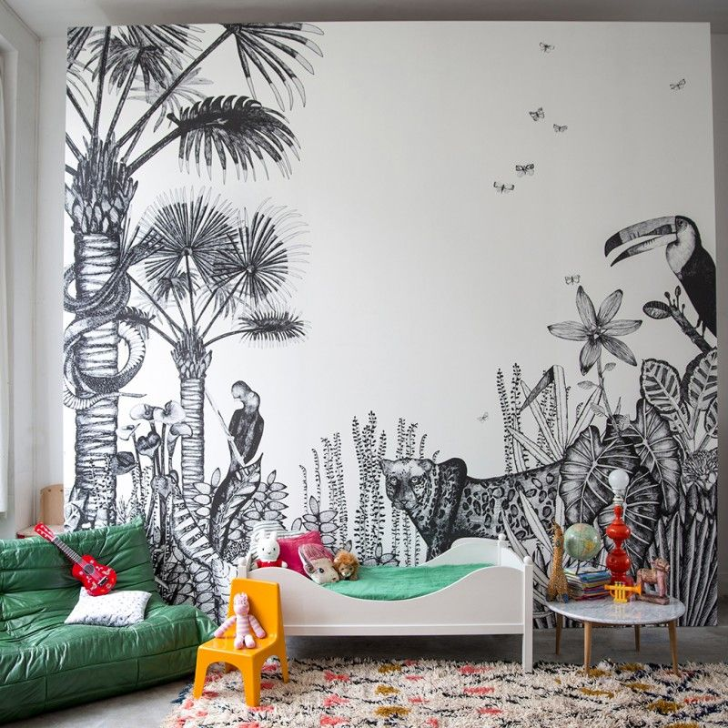 papier peint the wild bien fait rousseau et jungle. Black Bedroom Furniture Sets. Home Design Ideas