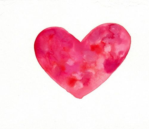 a watercolor heart I painted on a postcard for my mom this