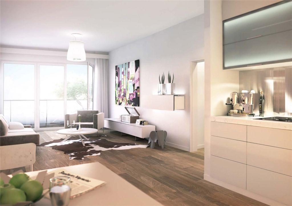 Neubau in Berlin - Offene Küche und Wohnzimmer in Luxuswohnung - wohnzimmer offene k che