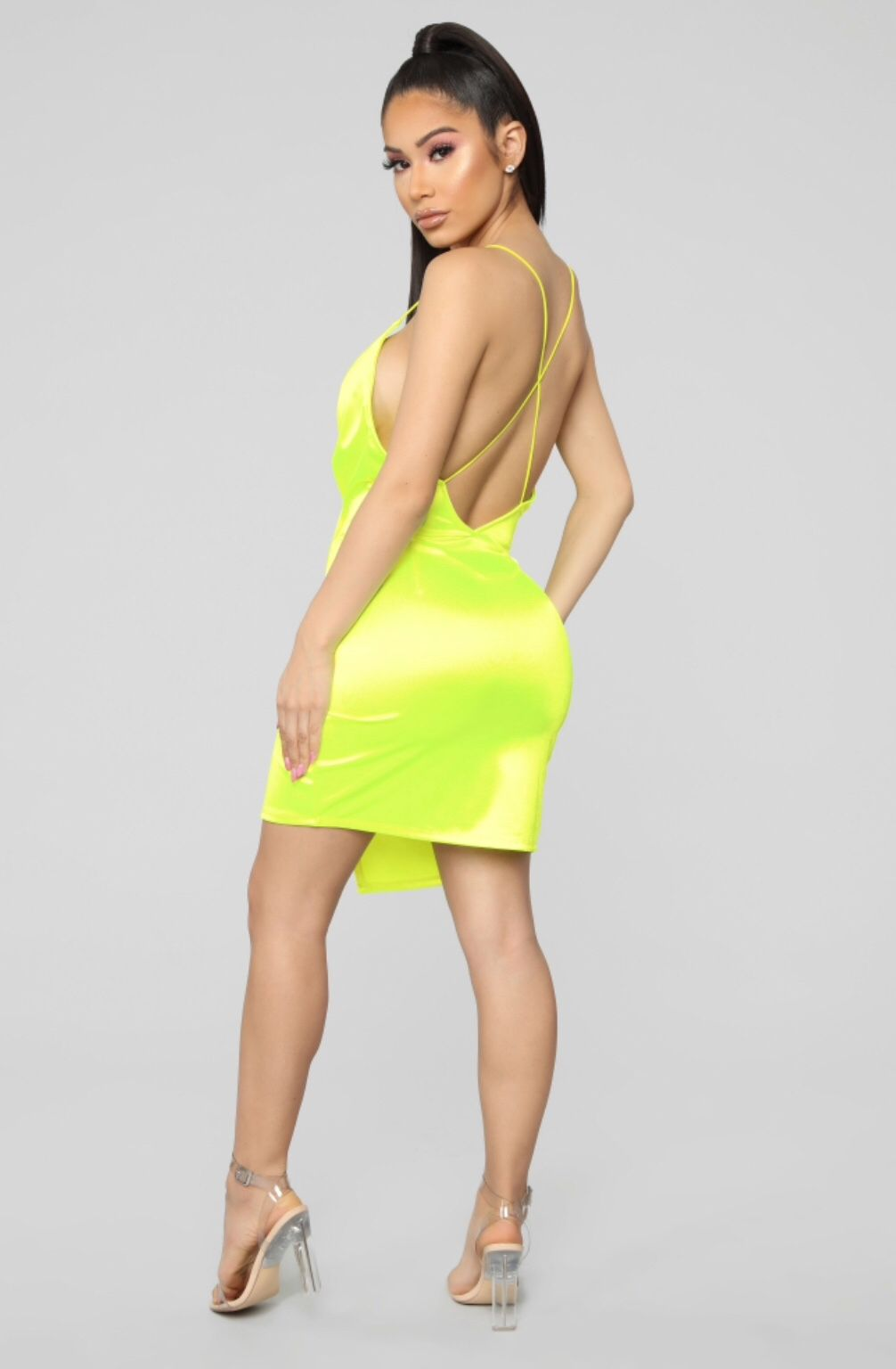 Always A Flirt Satin Dress Neon Yellow Satin dresses