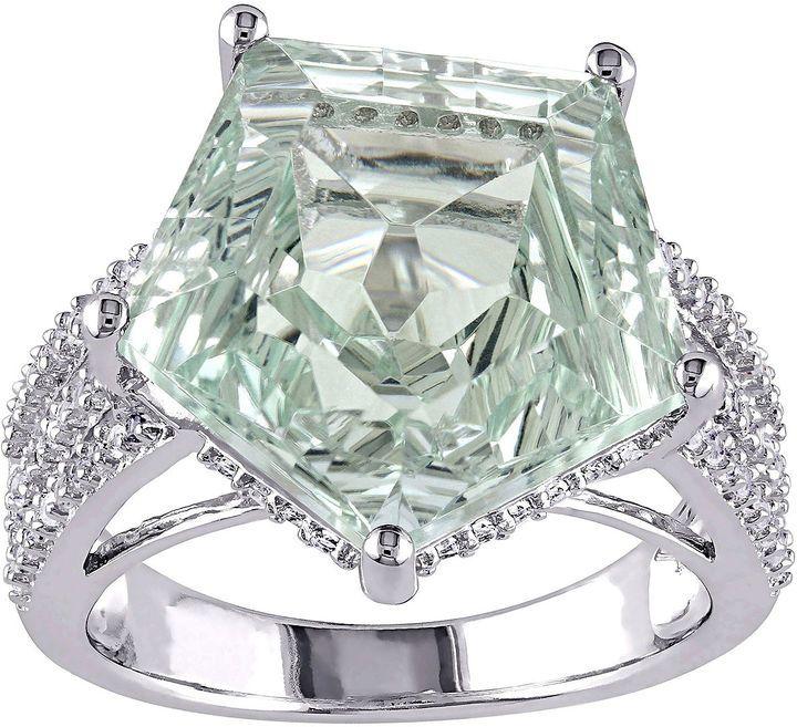 Fine Jewelry Genuine Green Amethyst & White Topaz Sterling Silver Ring J3Ej7xz