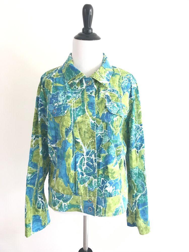 Chicos Sz 2  Floral Snap Button Down Open Blouse Collar Cotton Jacket Top Green #Chicos #casualstyle