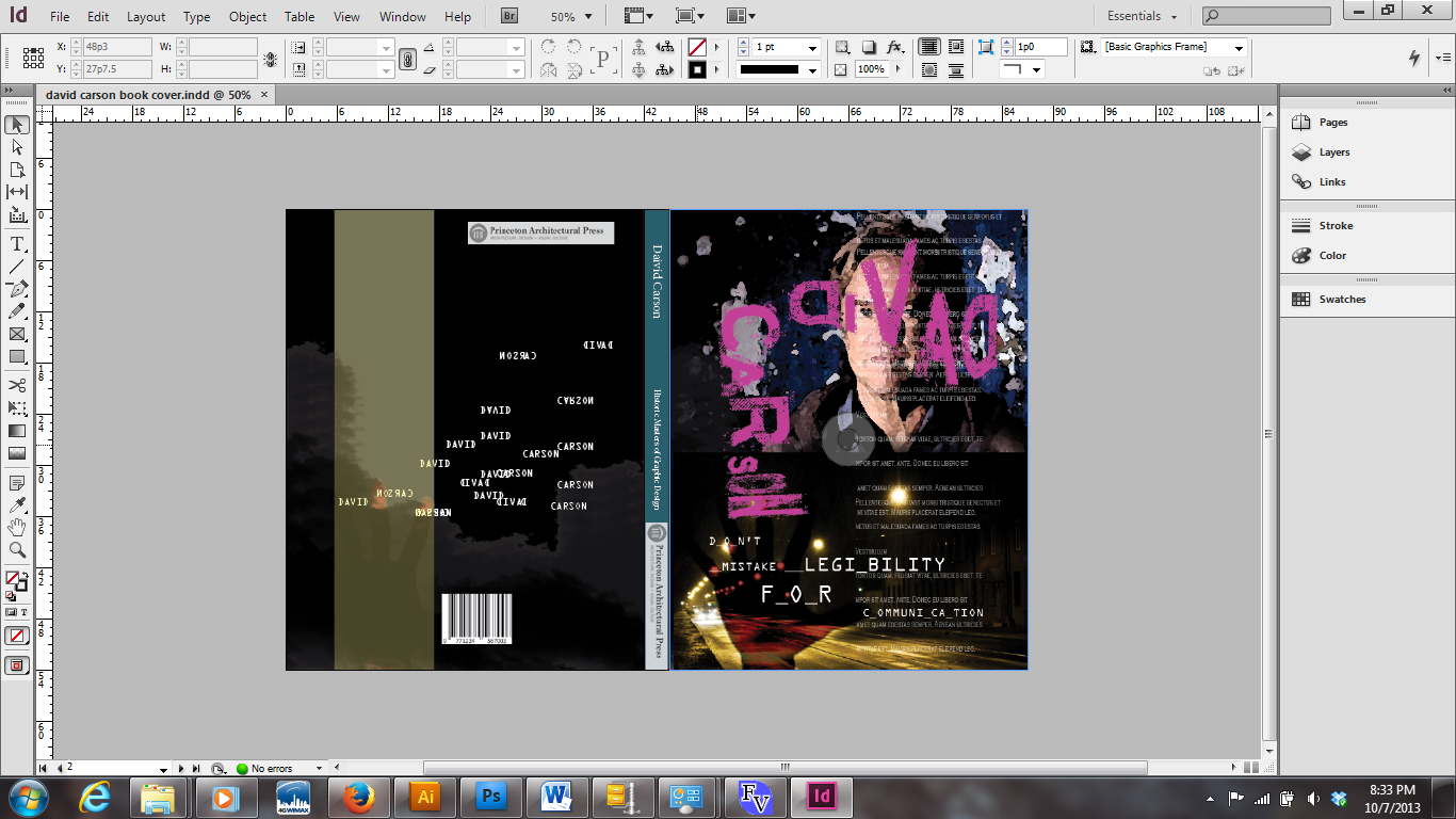 I am playing with a plain color for the spine. Which, I am thinking ...