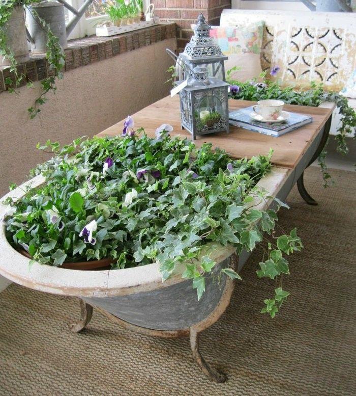 Ba era vieja mesa jardinera terraza home decor - Jardineras para balcones ...