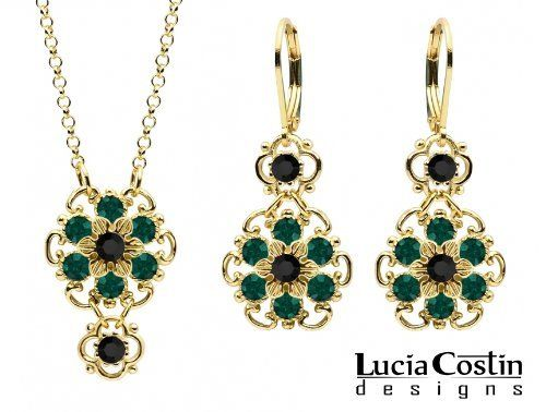 Gold Plated earrings set with SWAROVSKI Crystal in Emerald Green c9gC9