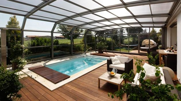 15 Stylish Pool Enclosure For Year Round Pool Usage Home Design Lover Outdoor Rooms Pool Enclosures Modern Pools