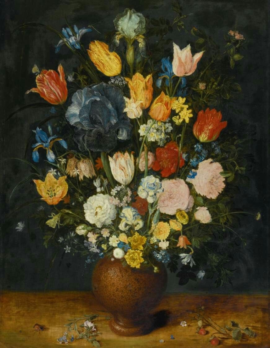 Still-Life of Flowers in a Stoneware Vase 1606-10 Oil on oak panel, 67 x 51 cm Private collection