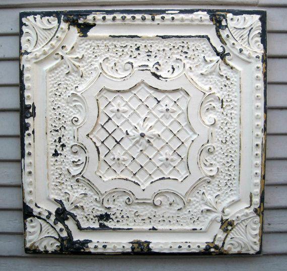 Antique Tin Tile Framed 2 X2 Tin Ceiling Tile Circa 1910 All