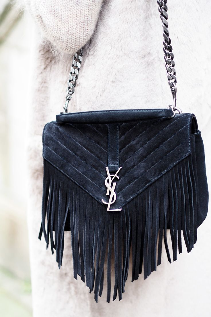 Yves Saint Lau Monogram Serpent Medium Fringed Leather Shoulder Bag In Suede