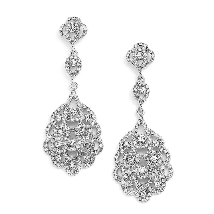 Extra Long Vintage Look Crystal Wedding And Prom Earrings