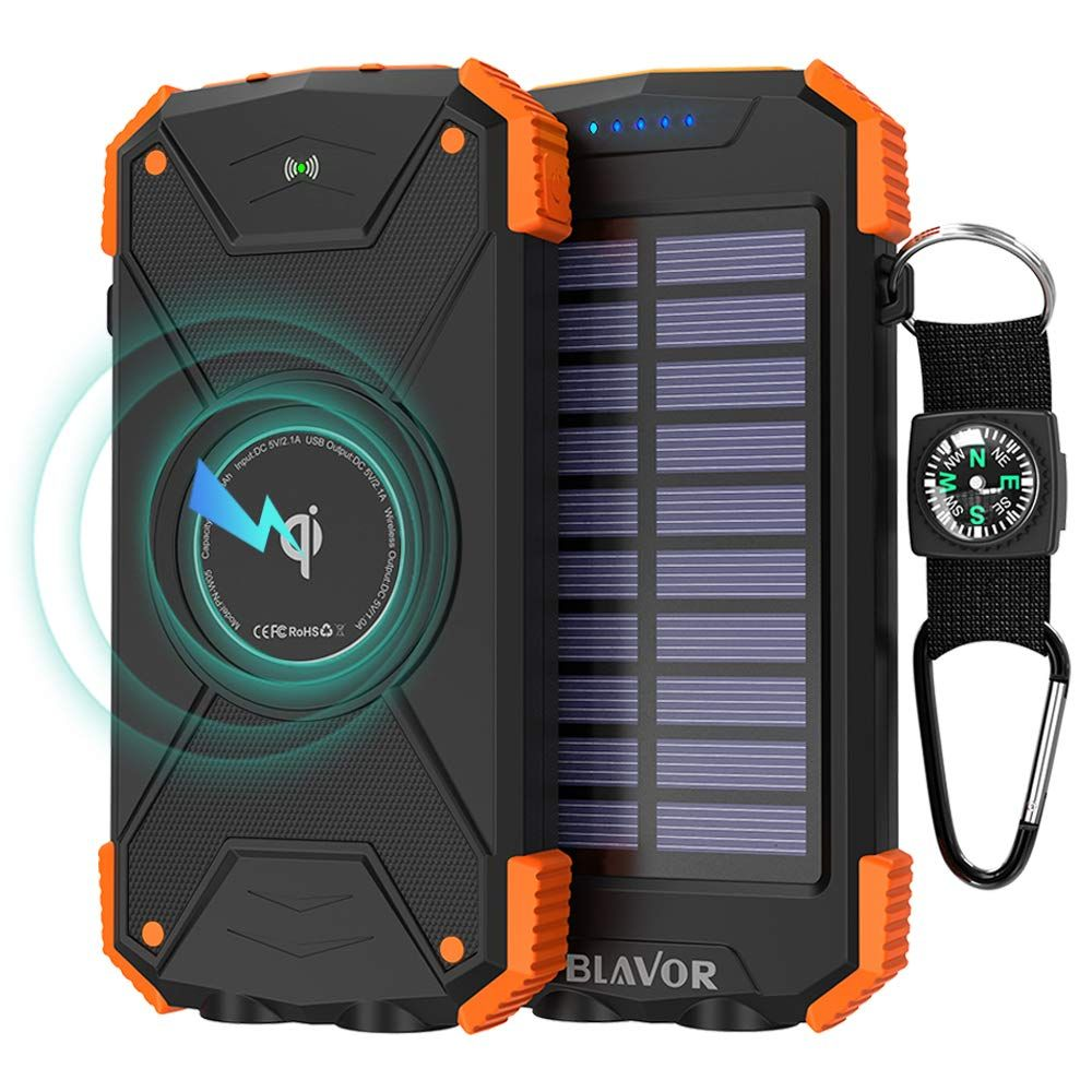 Solar Power Bank Qi Wireless Charger 10 000mah External Battery Pack With Type C Port Dual Flashligh Solar Power Bank Solar Panel Charger Solar Power Charger