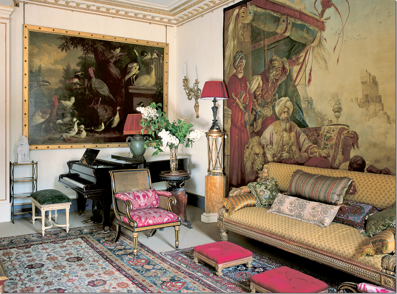 The Garden Room, Clarence House, With Fortuny Red On Cane Chairs.