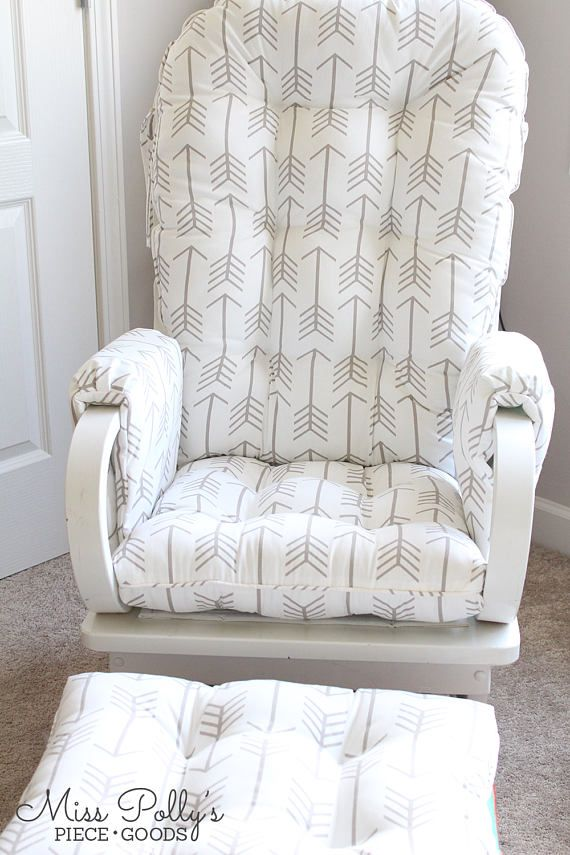 Rocking Chair Ottoman Cushions Accent Chairs Gray Pattern Custom Glider Replacement Cushion Arm Rests